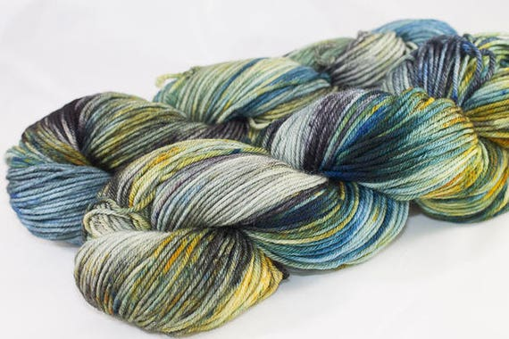 Hand dyed BFK DK, Cog in the Wheel Color, Yellow, Grey and Blue Multi Colored Superwash Blue Faced Leicester DK Weight Yarn