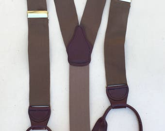 Vintage hipster suspenders fabric light brown with burgundy leather straps