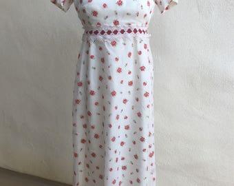 Vintage Wounded Bird chiffon maxi dress red white flora Baby doll style Sylvia Ann sz XS