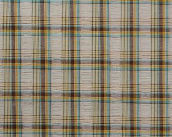 Cotton Plaid Fabric, Plisse Plaid, Seersucker Fabric, Seersucker Plaid, Cotton Fabric, Cotton Plisse Fabric - 1 1/8 Yard - CFL2380