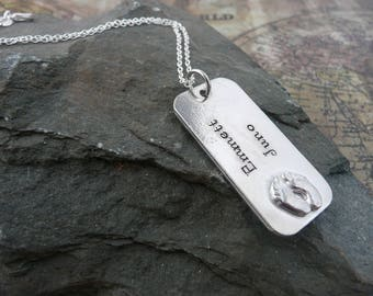 Hand stamped footprint necklace, personalise, pewter.