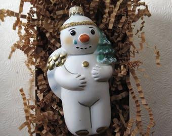 Vaillancourt Christmas Ornament Snow Angel OR 9540 Blown Glass Gold Glitter Handpainted Made in Germany Folk Art Original Box