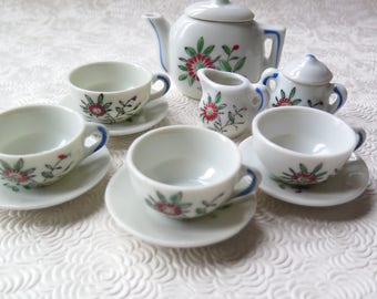 Vintage Toy Doll Dishes Tea Set Porcelain China Dishes Children's Set 1950s Made in Japan Four Cups Teapot Sugar Creamer Christmas Stocking