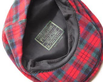Pendleton Cap 100% Virgin Wool Red Green Black Plaid Boy's Women's Large Made in USA Newsboy Women's Cap Hat Christmas Gift Holiday Fashion
