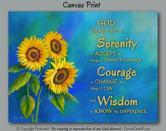 Serenity prayer Wall art, Canvas art print, Sunflower decor, Blue & yellow laundry room decor, Country, Shabby Cottage Chic artwork