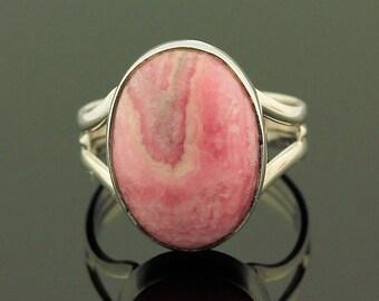 Pink Rhodochrosite Ring // 925 Sterling Silver // Ring Size 8.5 // Handmade Jewelry