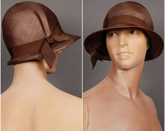 20s straw CLOCHE HAT size 21.5 brown original vintage 1920