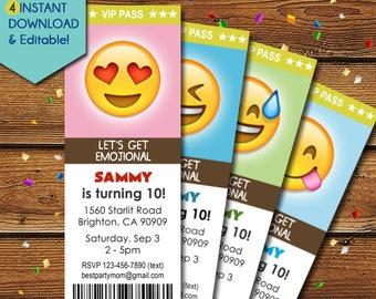 Emoji Invitations, Emoji Birthday Invitations, Smiley Invitation, Smiley Birthday, Smiley Party Invite, Smiley Invite, Smiley Face, Emoticon