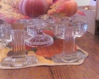 Art Deco Double Glass Candleholders