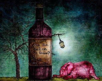 "Art print // Wine - elephant - tree // ""The crunch"""