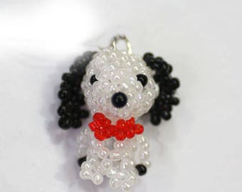 5pcs  manual Weave  Bead  Cartoon Dog  lovely  white animal Pendant