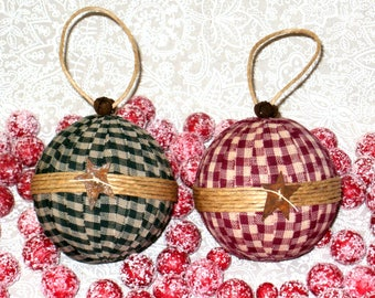 Set of Handcrafted Primitive Homespun Gingham Check Fabric Christmas Tree Ornaments~Sisal Wrapped~Rusty Tin Stars & Jingle Bells~Red / Green