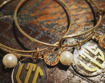 Personalized bracelet - monogrammed bracelet - monogram bracelet - gold bracelet - charm bracelet - bracelet - mothers jewelry