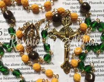 Saturated Pumpkin and Green Emerald fire polished glass bead and Deep Brown Swarovski baroque pearl rosary with gold plate Our Lady of Grace