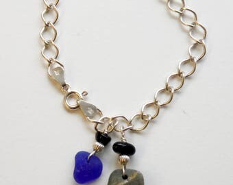 Sea Glass & Sterling Silver Chain Bracelet with Cobalt Blue and a Sea Pebble, Rockport Cape Ann MA
