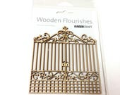 WOOD IRON GATE Embellishment.  Kaisercraft Flourishes.  Scrapbooking, Card Making, Mixed media and other projects.  Die Cut Wood Piece