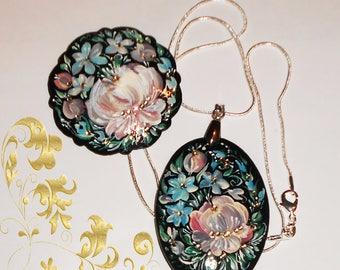 Russian jewelry handpainted Jewelry floral set Russian brooch pendant  set jewelry Russian necklace handmade folk art Jewelry wabi sabi art