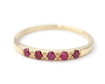 ON SALE Gold Ruby Ring, Pave Ruby Ring, Five Stones Ring, Dainty Ruby Ring, Ruby Wedding Ring, July Birthstone Ring, Natural Ruby Ring, Red