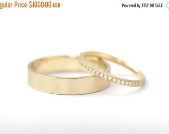 ON SALE Men's Wedding Band - Men Wedding Ring - Gold Wedding Ring - Flat Wedding Ring - 18k Solid Gold