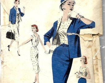 ON SALE Butterick 7581 Misses Sheath Dress, Jacket & Slim Pencil Skirt Sewing Pattern, 1950's, Size 16, Bust 34