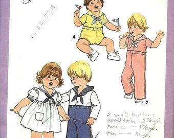 ON SALE Simplicity 8813 Toddler Sailor Dress, Top And Pants Or Shorts Pattern, Size 3