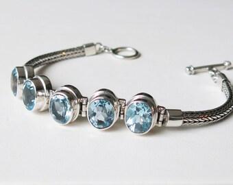 Sterling silver and genuine blue topaz gemstones
