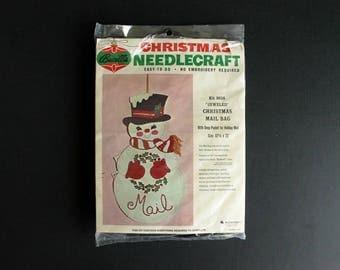 Vintage Brucilla NeedleCraft Christmas Snowman Mail Holder Kit 8634 Jeweled Christmas Mail Bag
