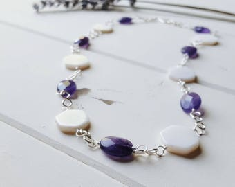 Amethyst & Mother of Pearl, Single Necklace, Ready to Ship