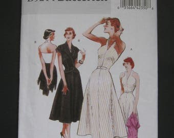 Size 8 - 14, Day or Night, 1947 reissue, Retro Butterick 5214, lovely halter top dress, flared skirt, fitted jacket with cap sleeve, lapels