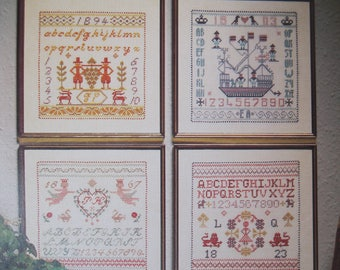 Permin Sampler Book, four different samplers included in one booklet, Danish needlework, Permin of Copenhagen, 10 pages, 39-3158, 59, 60, 61