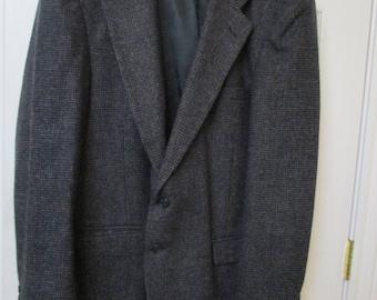 Vintage  Barrington Tweed Jacket Blazer Sports Coat in Black & Gray Wool Blazer 48L