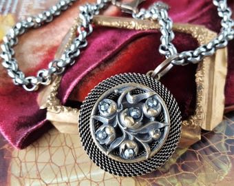 Antique Button Necklace Historic Jewelry, Large Pendant Necklace High Quality, Antique Button Jewelry veryDonna, Donna Sutor