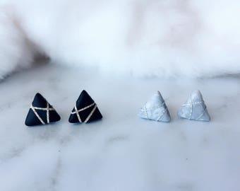 Polymer Clay Earrings/ Triangle Earrings/ Marble Triangle/ Handmade Earrings/ Elegant Earrings/ Surgical Steel/ Earrings Stud
