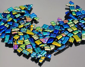 Mosaic Tiles, Textured Tiles, Smooth Edges, Ready to Use, Dichroic Tiles, Handmade Tiles, Fused Glass Tiles