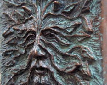 "Woodman, Greenman, Green man, Greenman art Tile 6"" x 6"", Green man tile, celtic tile, greenman art, Green man sculpture, Greenman Plaque"
