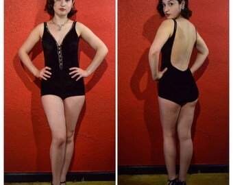 1950s Black Velour Rhinestone Swimsuit XS Small