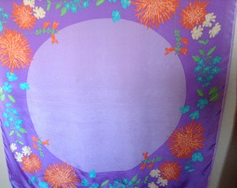 Vintage Vera Scarf, Floral Scarf, Purple, Lavender, Orange Floral, Lotus Flower, 1960's, Thelma And Louise, 1970's