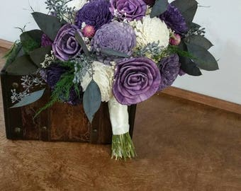 Wedding Bouquet, Sola wood Bouquet, Ready to ship, Woodland purple ,sola bouquet, Bridal bouquet,  Alternative Bouquet, Sola flowers