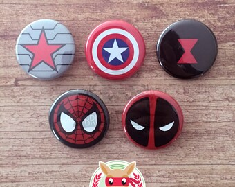 Avengers inspired buttons - pinback or magnets ||| Winter Soldier Captain America Black Widow Spiderman Deadpool Marvel