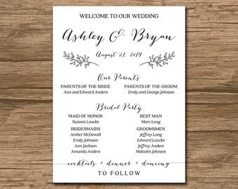 PRINTABLE Wedding Program Poster, Welcome Poster - simple and elegant - custom color, size, font - Ashley