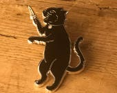 STABBY CAT Hard Enamel Pin / Earrings - Hipster Dagger Rockabilly Low Brow Tattoo Burlesque Horror Monster Knife Switch Blade