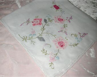 No. 200 ANTIQUE Swiss Cotton Hand Embroidered Handkerchief, Pink Embroidery No. 47