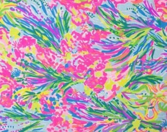 Multi FAN SEA PANTS fabric ~ 9 X 18 or 18 X 18 inches  ~ Lilly Pulitzer~ Cotton Poplin