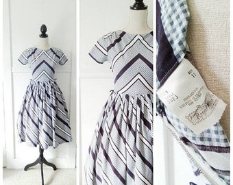 20% OFF / Agitate the Gravel 1950s Black/White/Grey Chevron/Gingham Print Cotton Dress