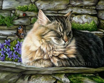 Tabby Cat Print Missed Butterfly by Irina Garmashova