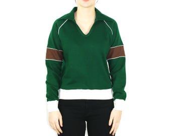 80s Green Long Sleeve Shirt Women // Butterfly Collar Sweater // Green V Neck Sweater Women // Unique Collared Shirt for Women