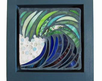 Stained Glass Mosaic Art Panel: Curling Wave IV