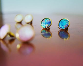 opal earrings /mother of pearl earrings / fire opal earrings / moonstone earrings