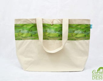 Countryside Large Tote Bag, Canvas Tote, Reusable Shopper Bag, Cotton Tote, Shopping Bag, Eco Tote Bag, Reusable Grocery BagStocking Filler