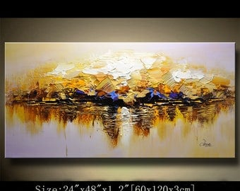 contemporary wall art,Palette Knife Painting,colorful Landscape painting,wall decor,Home Decor,Acrylic Textured Painting ON Canvas Chen 0825